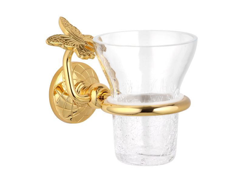 Téglik na kefky Butterfly s úchytom do steny s poťahom 24k zlata