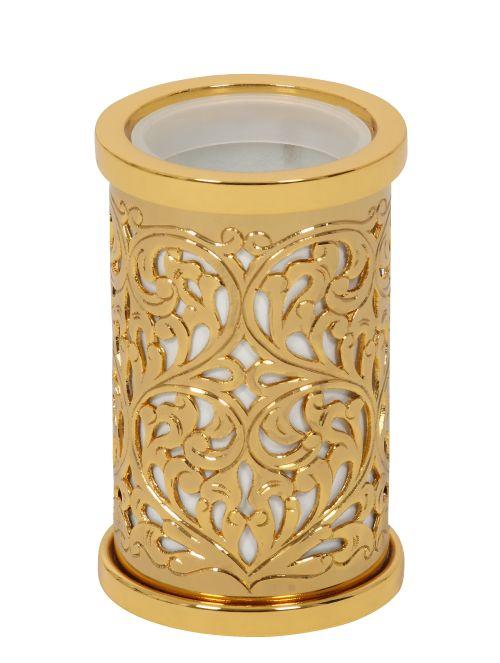 Kelímek na kartáčky Conchiglia volně stojící s potahem 24k zlata