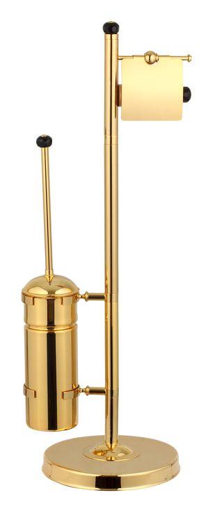 Voľne stojace set Bebek: toaletná kefa s úchytom na toaletný papier s poťahom 24k zlata