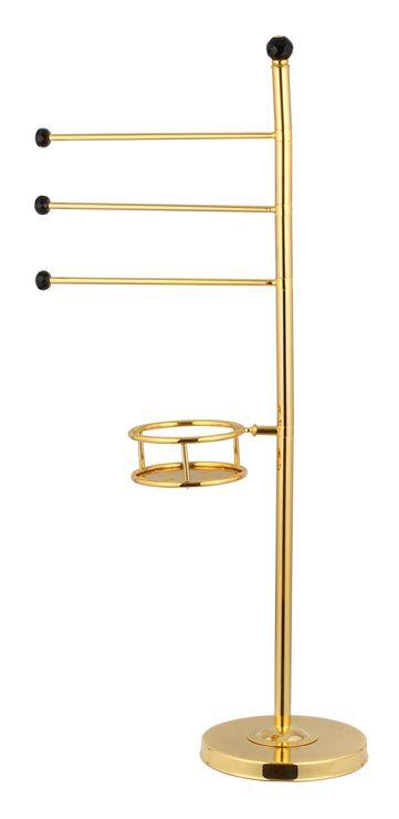 Volně stojící set Bebek: tyč na ručníky s poličkou na mýdlo s potahem 24k zlata