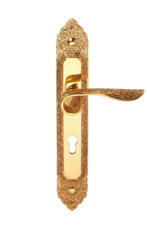 Dveřní klika Conchiglia štítková s potahem 24k zlata