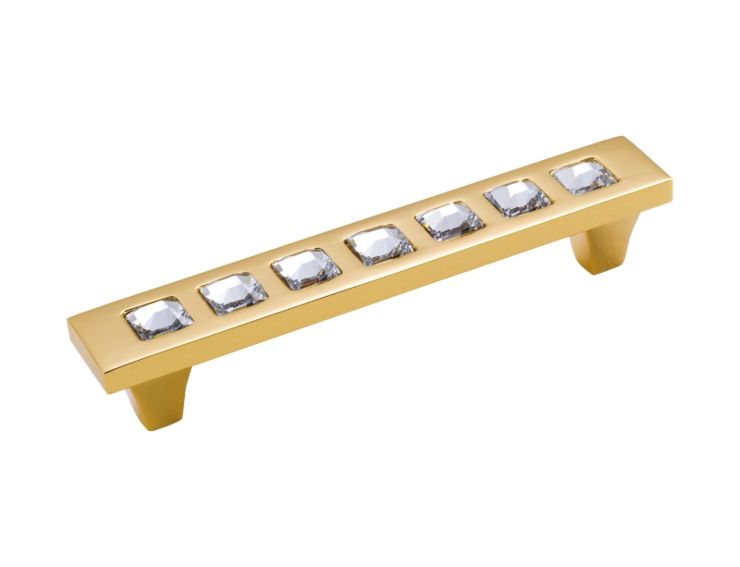 Nábytková úchytka Tria 128mm -potah zlato 24 karátů